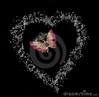Free Butterfly In Heart Fron Sugar In Black Background Royalty Free Stock Image - 15252726