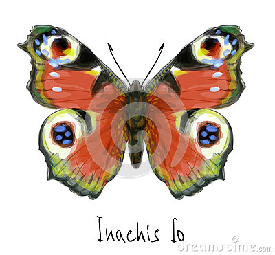Free Butterfly Inachis Io. Watercolor Imitation. Stock Image - 25183551