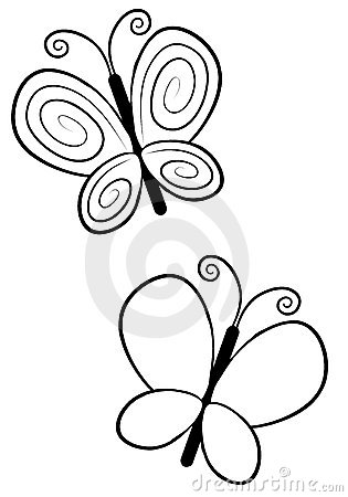 Free Butterfly Line Art Stock Photography - 7266692