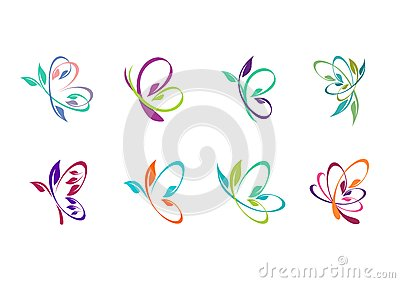 butterfly, logo, beauty, spa, relax, yoga, lifestyle, abstract butterflies set of symbol icon vector design Vector Illustration