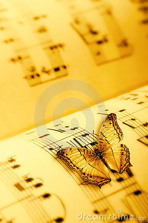Butterfly on a music sheet
