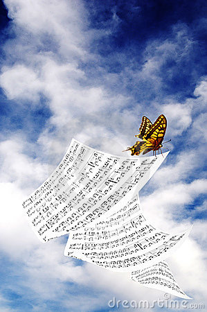 Butterfly with music sheet