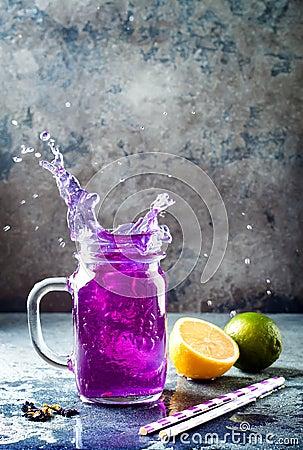 Free Butterfly Pea Flower Blue Iced Tea Or Lemonade. Healthy Detox Herbal Drink. Stock Photography - 110927072