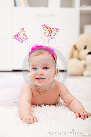 Free Butterfly Princess Crawling - Baby Girl On The Floor Royalty Free Stock Image - 33284576
