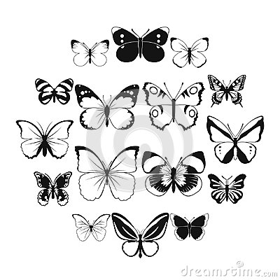 Free Butterfly Set Icons Stock Photo - 115910330