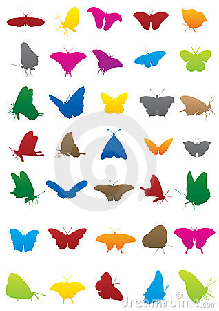 Free Butterfly Silhouettes Stock Image - 12573401