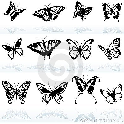 Free Butterfly Silhouettes Stock Photography - 18350632