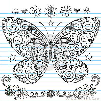 Butterfly Sketchy Back to School Doodles