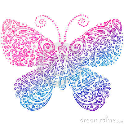 Free Butterfly Sketchy Notebook Doodles Royalty Free Stock Photos - 11466658