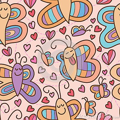 Free Butterfly Smile Pair Seamless Pattern Stock Photos - 75301443