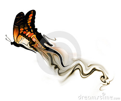 Butterfly with smoke