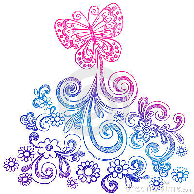 Butterfly and Swirls Doodle Vector