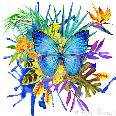 Free Butterfly, Tropical Leaves And Exotic Flower Royalty Free Stock Image - 53702536