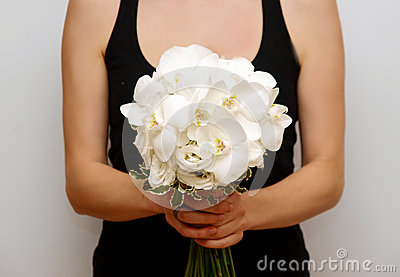 Butterfly white orchid wedding bouquet