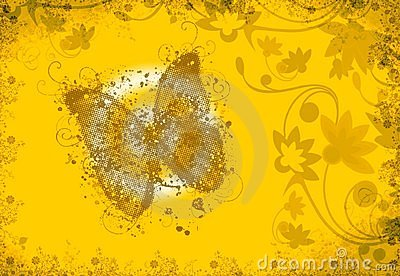Butterfly yellow background