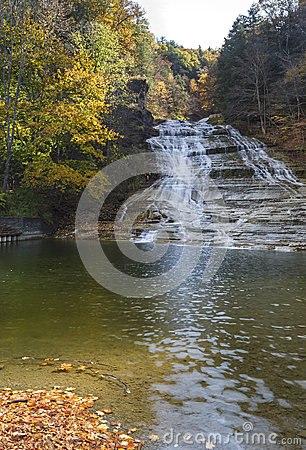 Free Buttermilk Falls Vertical Panorama Royalty Free Stock Images - 34756469