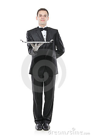 A buttler holding a tray