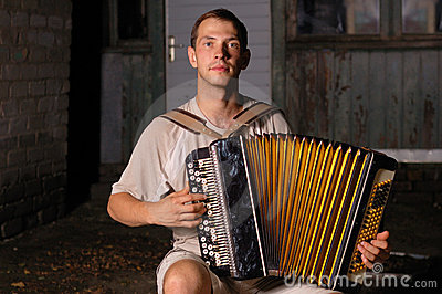 Button accordion playing evening serenade