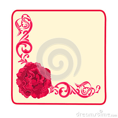Button business card roses and ornaments vector illustration