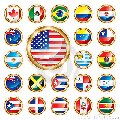 Button flags set America & Oceania