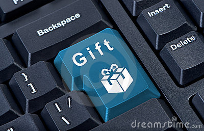 Button keypad with gift box icon.