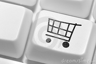 button for purchases on the keyboard. Online shop.