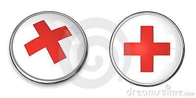 Button Red Cross Symbol Editorial Photo