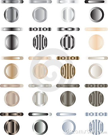 Button, set of buttons that are metal and light