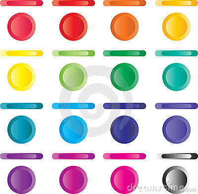 Button, set of light buttons of red, blue, green..