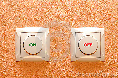 Button switch on a wall