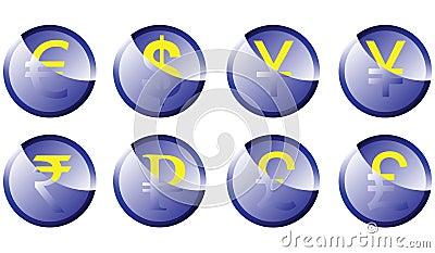 Button symbols currencies