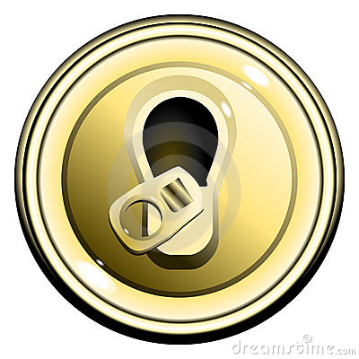 Button top opened gold can of beer vector