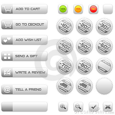 Buttons and badges for e-commerce