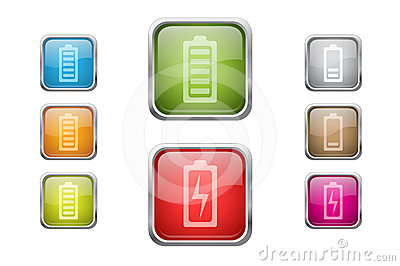 Buttons with battery sign icons