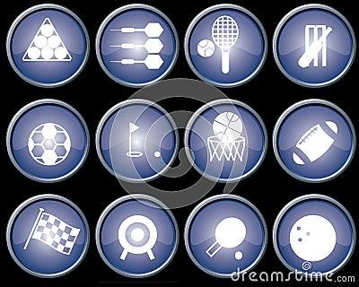 Buttons blue metal