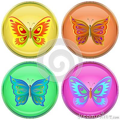 Buttons with butterflies