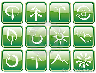 Buttons with ecological symbols
