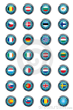 Buttons with European Union flags