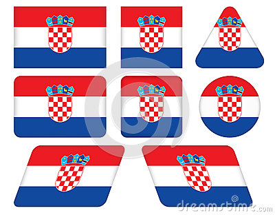 Buttons with flag of Croatia