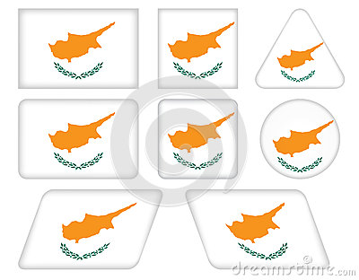 Buttons with flag of Cyprus