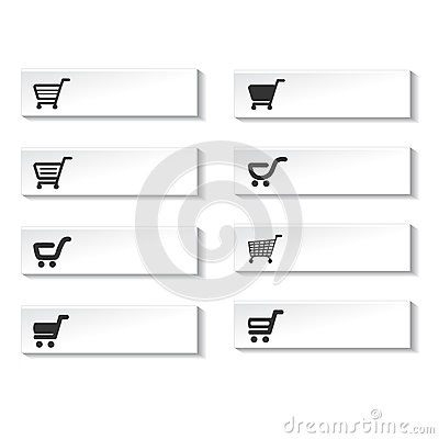 Buttons of shopping cart, trolley, item