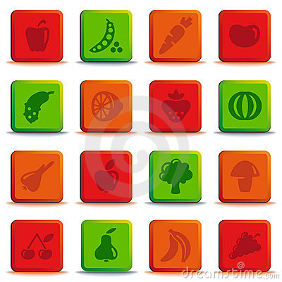Buttons of vegetables and fruit
