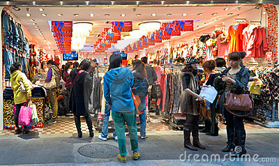 Buy clothes Editorial Stock Photo