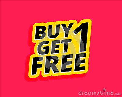Buy one get one free sticker label design Vector Illustration