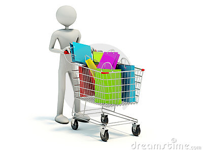 Buyer with full shopping cart