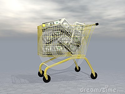 Buying wealth - 3D render