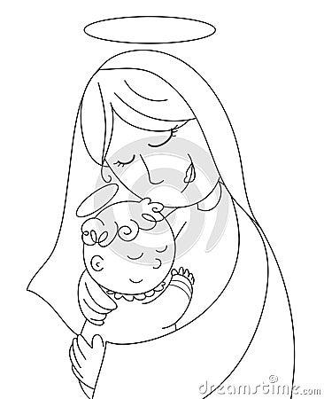 рождество bw jesus mary младенца