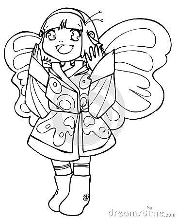 BW - Jong geitje Manga met een Kostuum van de Vlinder