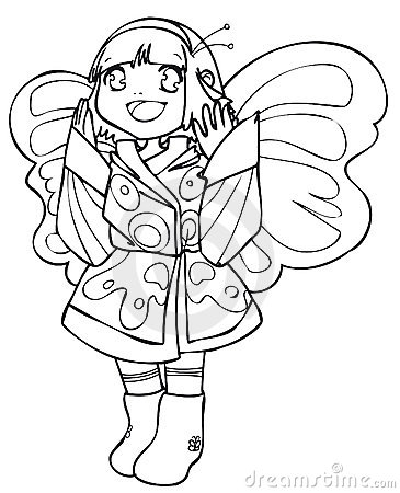BW - Manga Kid with a Butterfly Costume