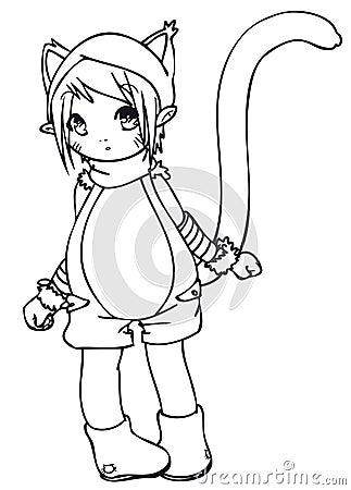 BW - Manga Kid with a Cat Costume